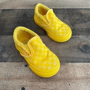 Vans Toddler Checkerboard Slip On V Sneakers Yellow Size US 5 Kids Canvas Shoes